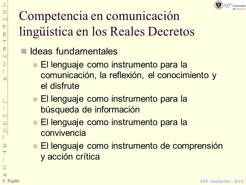 Competencia en comunicación lingüística en los Reales Decretos