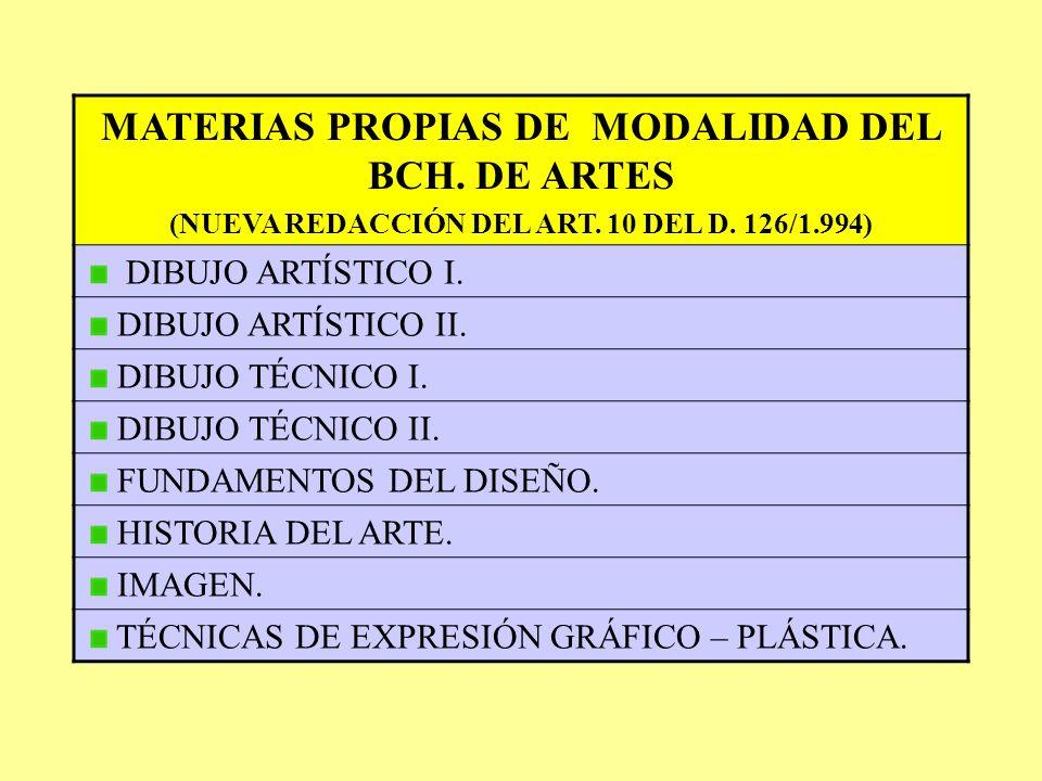 MATERIAS PROPIAS DE MODALIDAD DEL BCH. DE ARTES