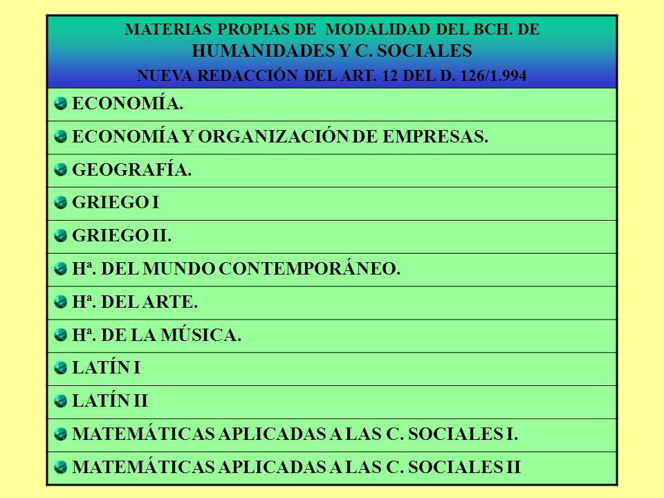 ECONOMÍA Y ORGANIZACIÓN DE EMPRESAS. GEOGRAFÍA. GRIEGO I GRIEGO II.