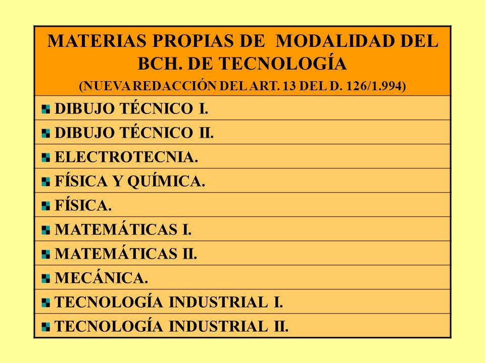 MATERIAS PROPIAS DE MODALIDAD DEL BCH. DE TECNOLOGÍA