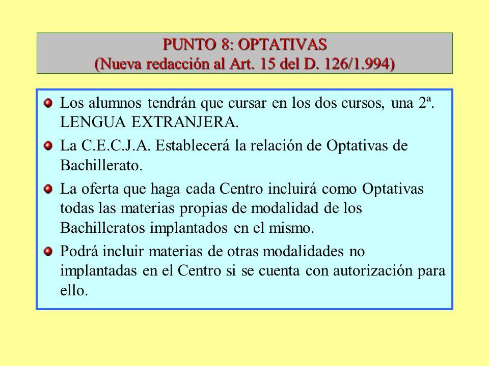 PUNTO 8: OPTATIVAS (Nueva redacción al Art. 15 del D. 126/1.994)