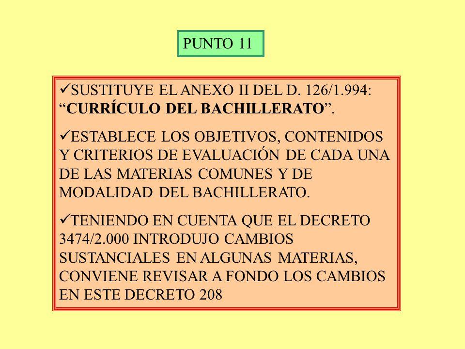 PUNTO 11 SUSTITUYE EL ANEXO II DEL D. 126/1.994: CURRÍCULO DEL BACHILLERATO .