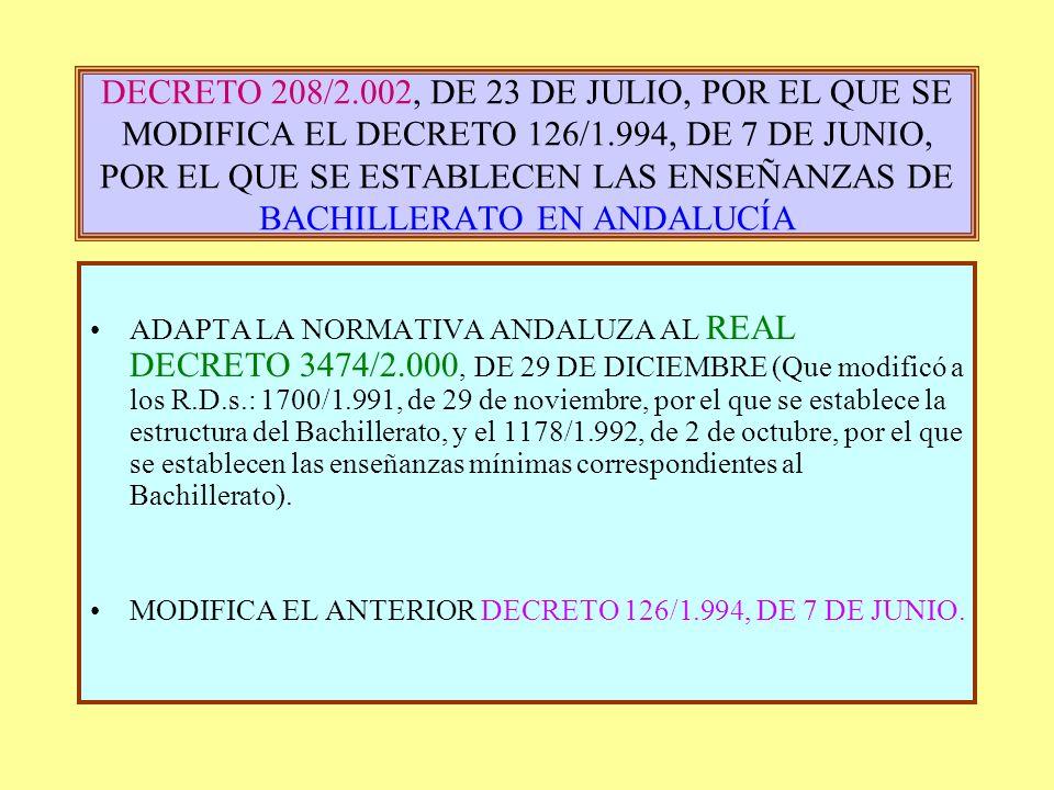 DECRETO 208/2.002, DE 23 DE JULIO, POR EL QUE SE MODIFICA EL DECRETO 126/1.994, DE 7 DE JUNIO, POR EL QUE SE ESTABLECEN LAS ENSEÑANZAS DE BACHILLERATO EN ANDALUCÍA