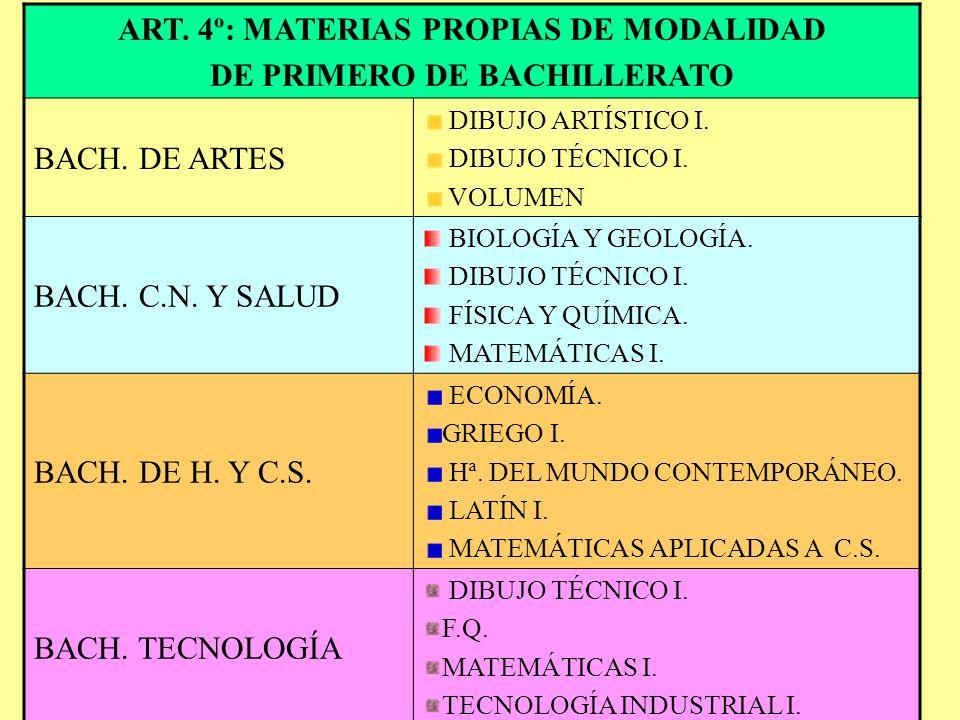 ART. 4º: MATERIAS PROPIAS DE MODALIDAD DE PRIMERO DE BACHILLERATO