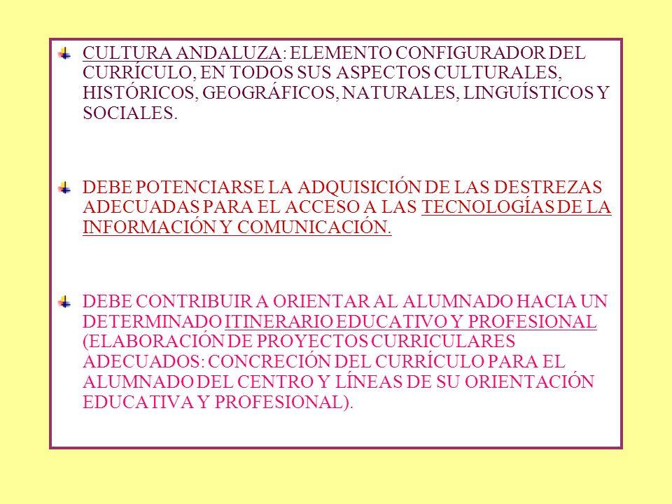 CULTURA ANDALUZA: ELEMENTO CONFIGURADOR DEL CURRÍCULO, EN TODOS SUS ASPECTOS CULTURALES, HISTÓRICOS, GEOGRÁFICOS, NATURALES, LINGUÍSTICOS Y SOCIALES.