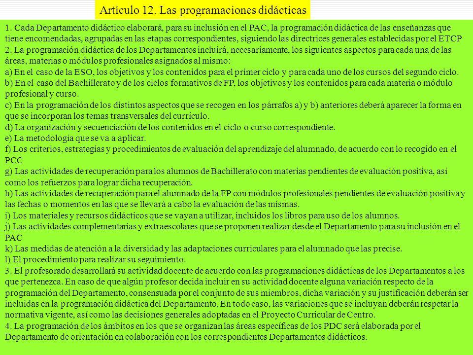 Artículo 12. Las programaciones didácticas