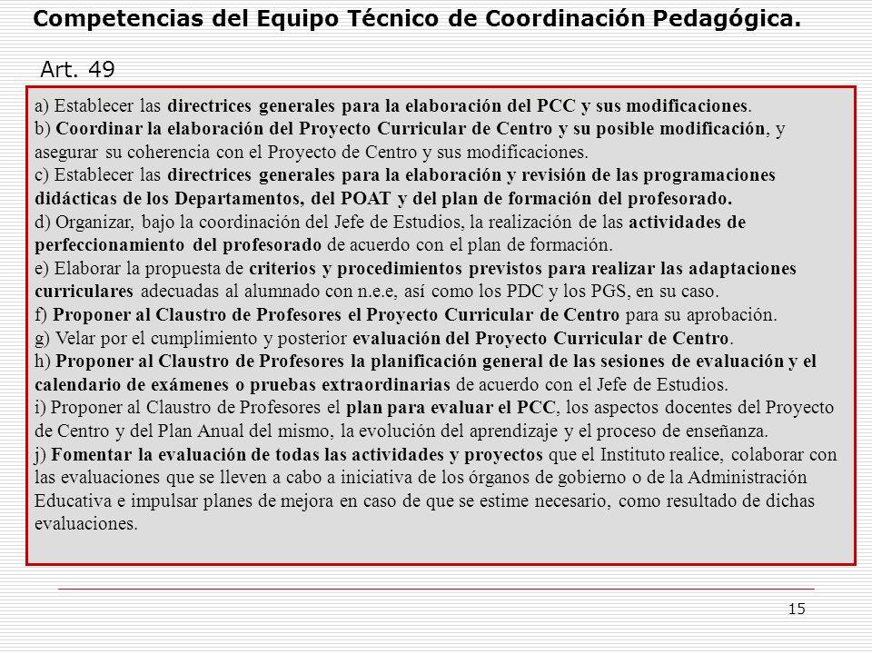 Competencias del Equipo Técnico de Coordinación Pedagógica.