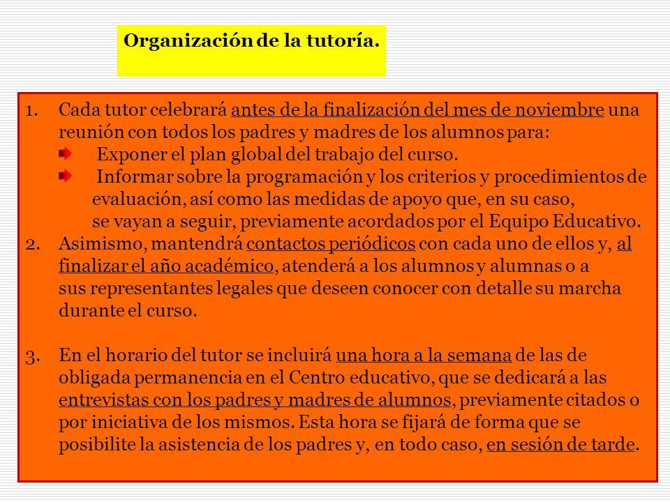 Organización de la tutoría.