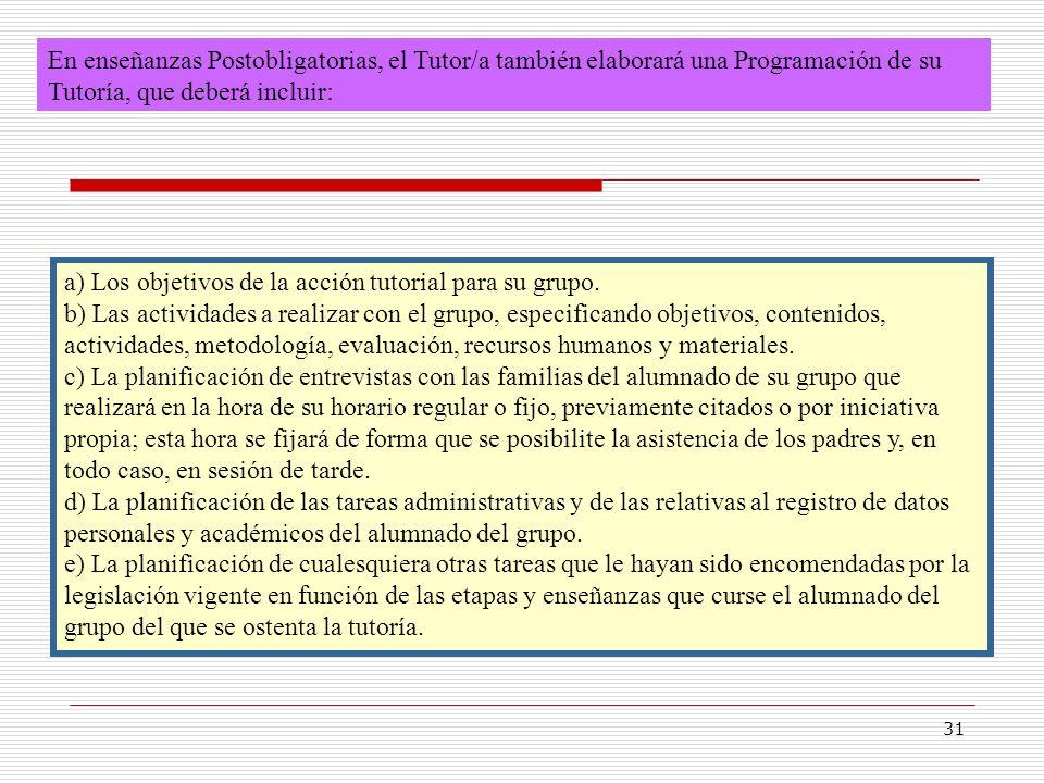 En enseñanzas Postobligatorias, el Tutor/a también elaborará una Programación de su Tutoría, que deberá incluir: