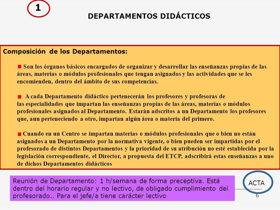 1 DEPARTAMENTOS DIDÁCTICOS Composición de los Departamentos: