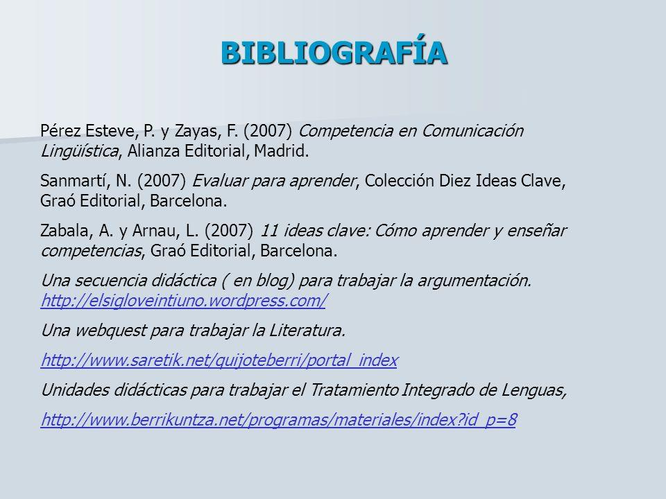 BIBLIOGRAFÍA Pérez Esteve, P. y Zayas, F. (2007) Competencia en Comunicación Lingüística, Alianza Editorial, Madrid.