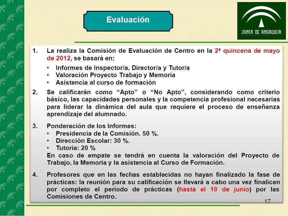 Evaluación La realiza la Comisión de Evaluación de Centro en la 2ª quincena de mayo de 2012, se basará en: