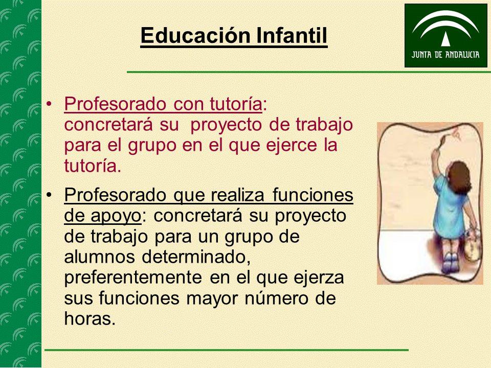 Educación Infantil Profesorado con tutoría: concretará su proyecto de trabajo para el grupo en el que ejerce la tutoría.