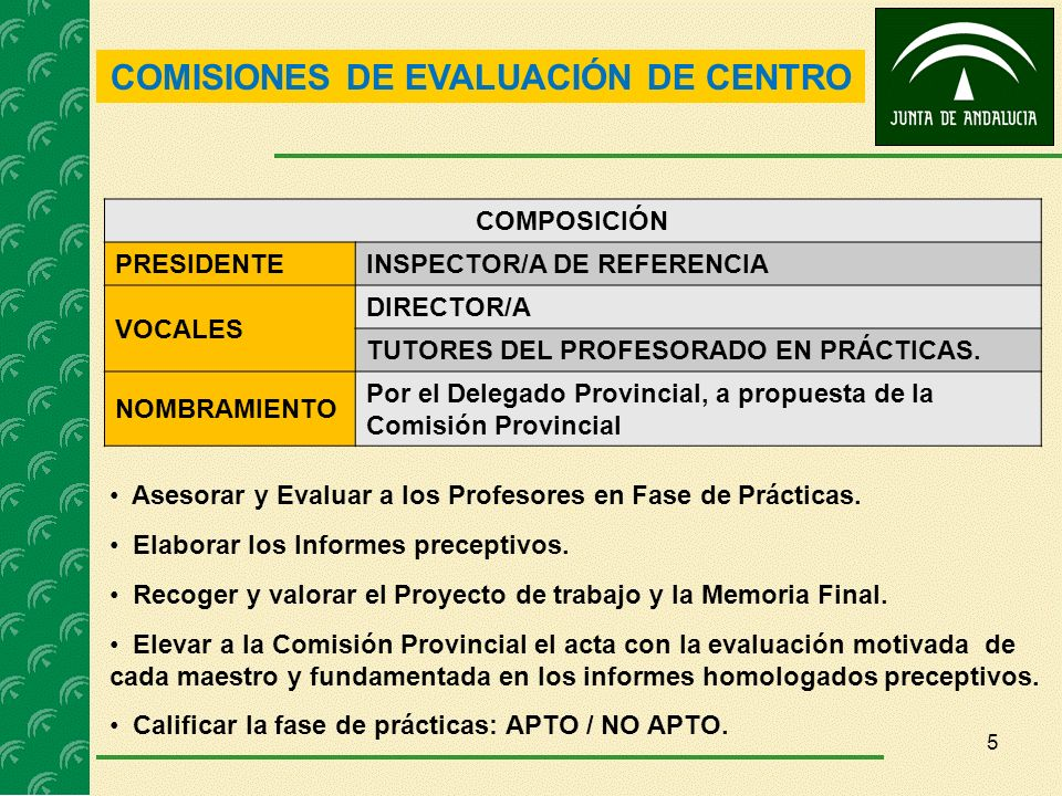 COMISIONES DE EVALUACIÓN DE CENTRO