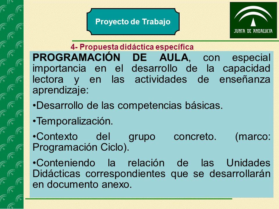 Desarrollo de las competencias básicas. Temporalización.
