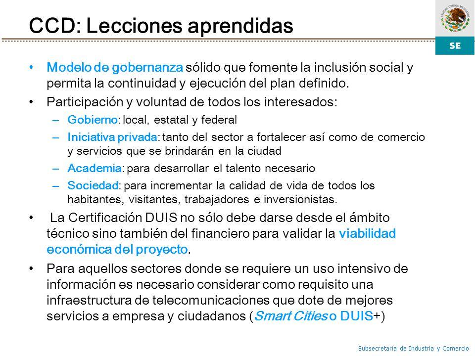 CCD: Lecciones aprendidas