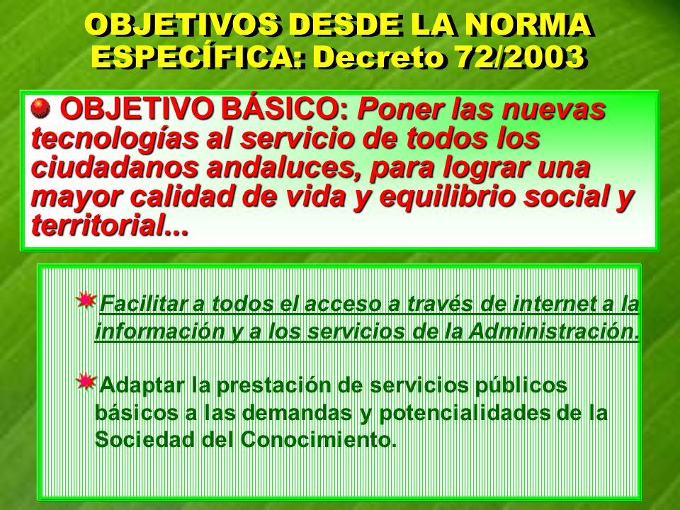 OBJETIVOS DESDE LA NORMA ESPECÍFICA: Decreto 72/2003