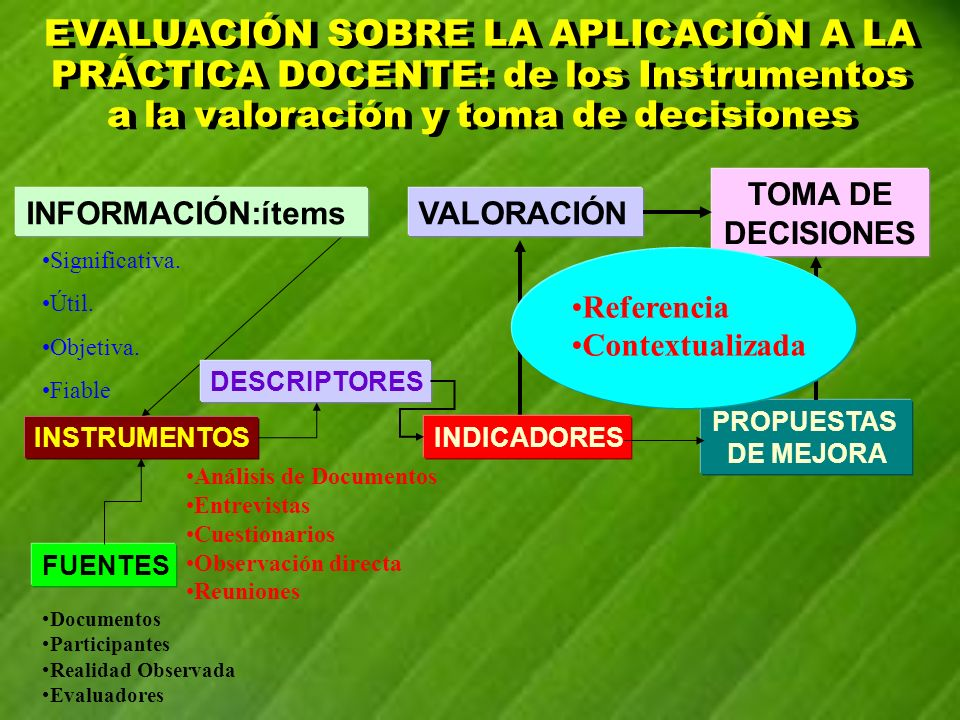 EVALUACIÓN SOBRE LA APLICACIÓN A LA PRÁCTICA DOCENTE: de los Instrumentos a la valoración y toma de decisiones