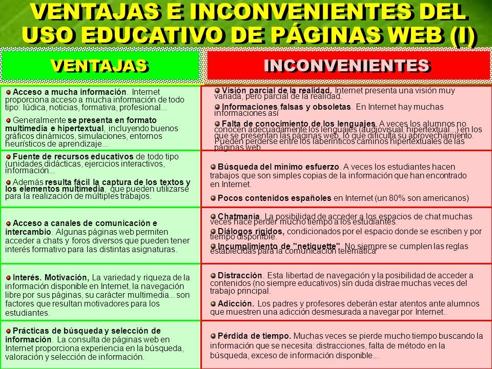 VENTAJAS E INCONVENIENTES DEL USO EDUCATIVO DE PÁGINAS WEB (I)