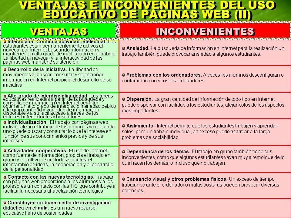 VENTAJAS E INCONVENIENTES DEL USO EDUCATIVO DE PÁGINAS WEB (II)
