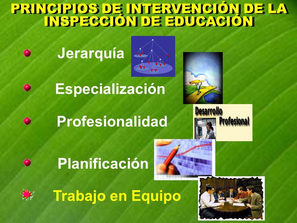 PRINCIPIOS DE INTERVENCIÓN DE LA INSPECCIÓN DE EDUCACIÓN