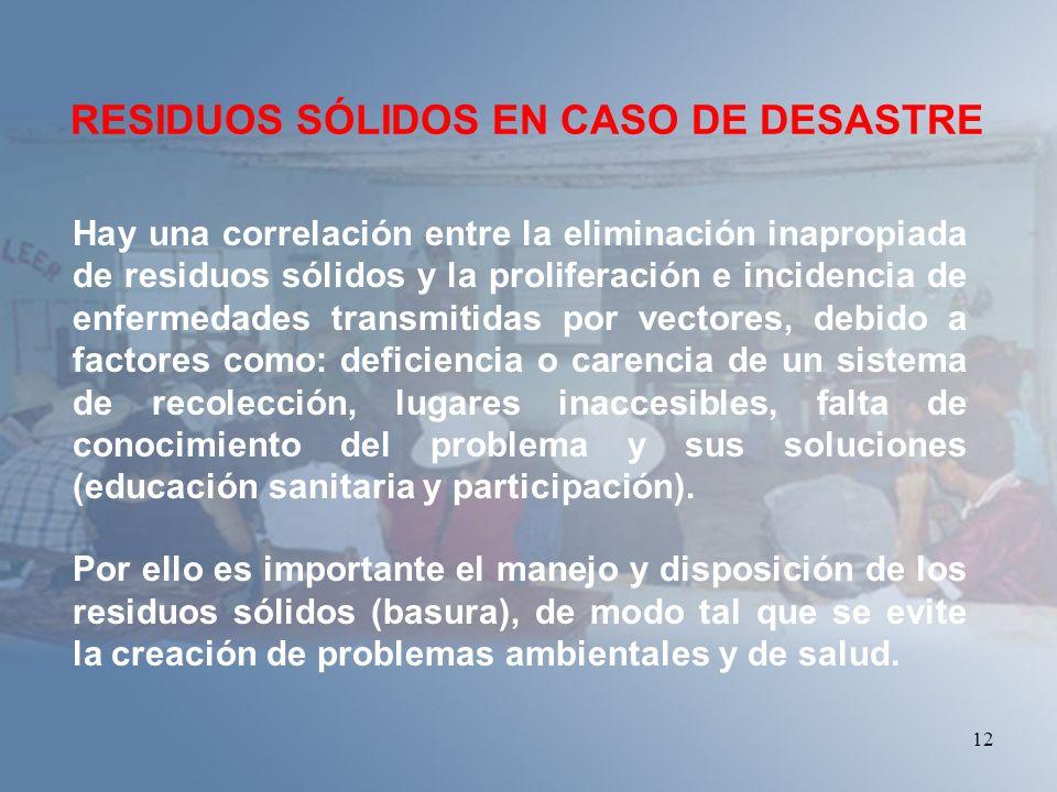 RESIDUOS SÓLIDOS EN CASO DE DESASTRE
