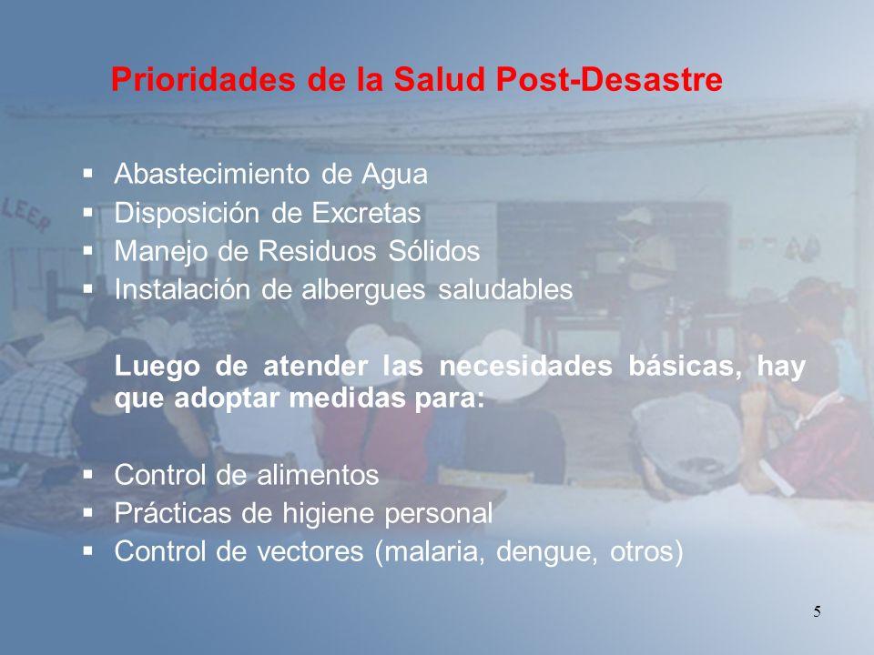 Prioridades de la Salud Post-Desastre