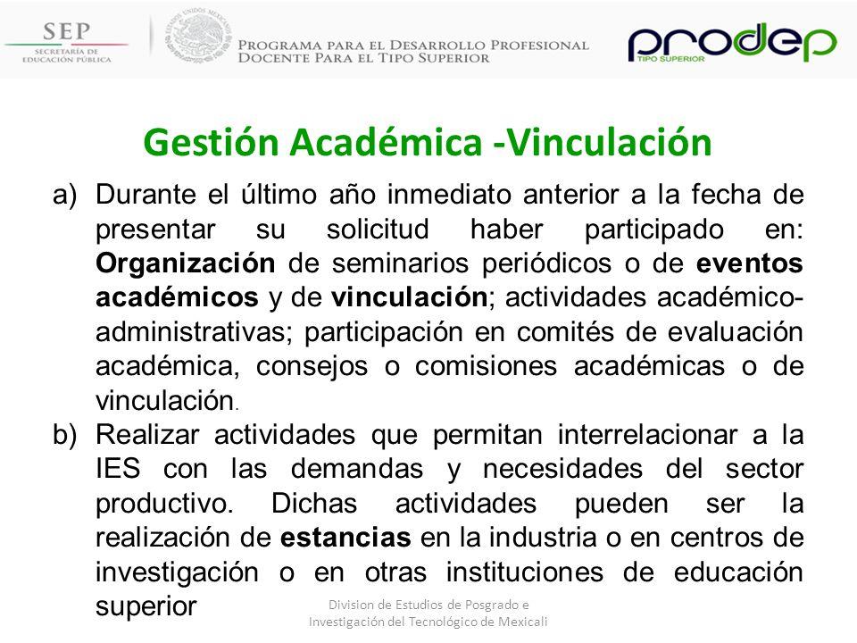 Gestión Académica -Vinculación