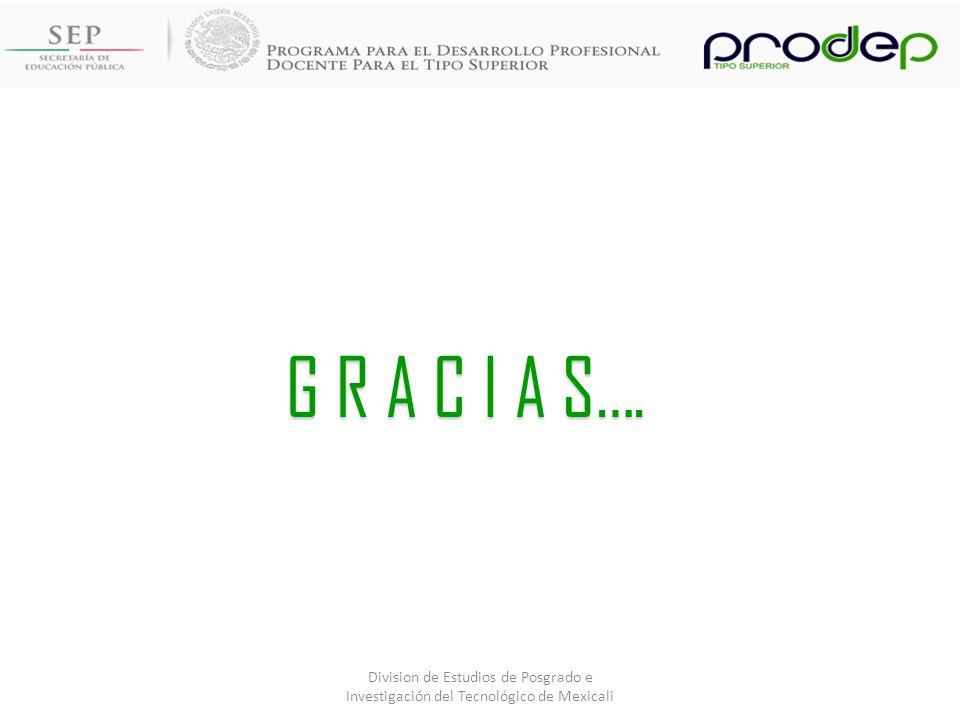 G R A C I A S…. Division de Estudios de Posgrado e Investigación del Tecnológico de Mexicali