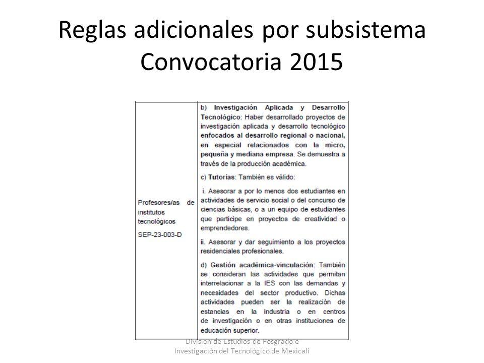 Reglas adicionales por subsistema Convocatoria 2015