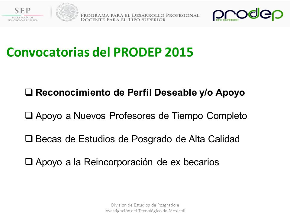 Convocatorias del PRODEP 2015