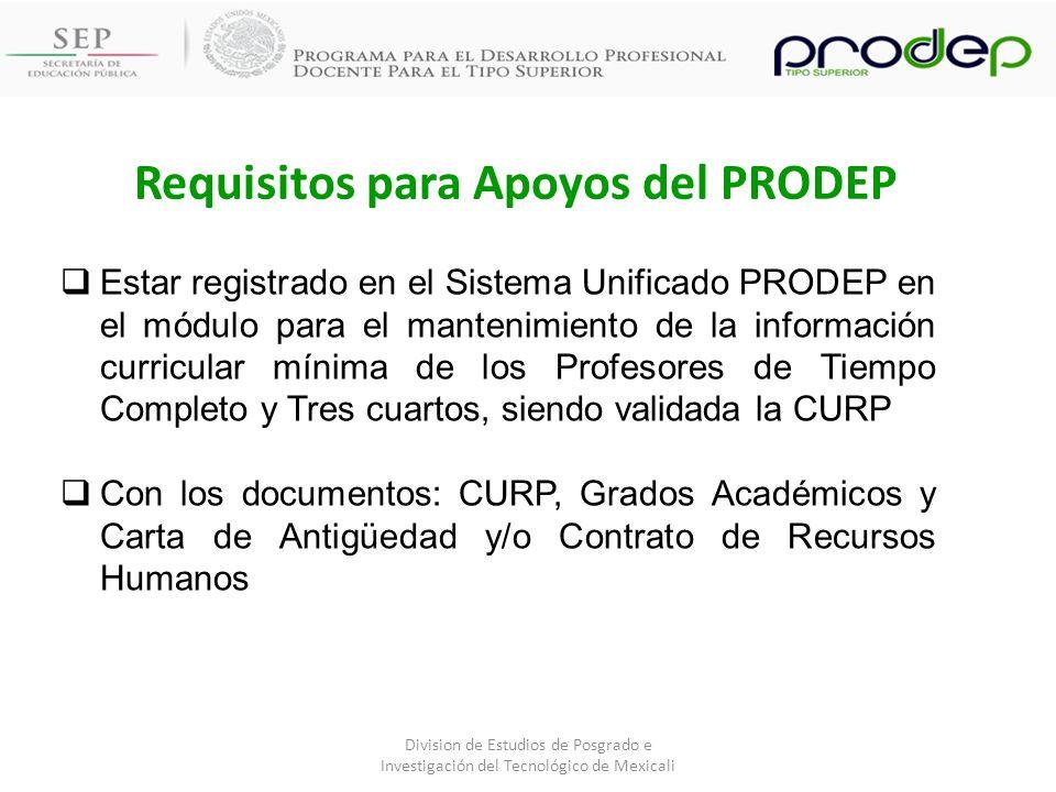 Requisitos para Apoyos del PRODEP