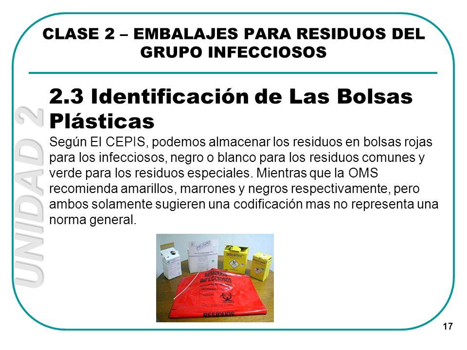 CLASE 2 – EMBALAJES PARA RESIDUOS DEL GRUPO INFECCIOSOS