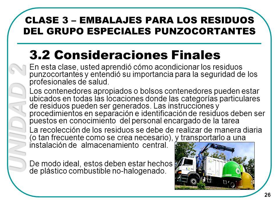3.2 Consideraciones Finales