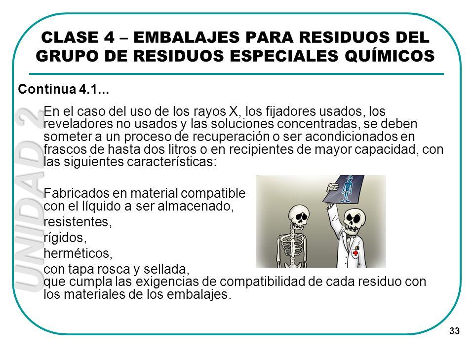 CLASE 4 – EMBALAJES PARA RESIDUOS DEL GRUPO DE RESIDUOS ESPECIALES QUÍMICOS