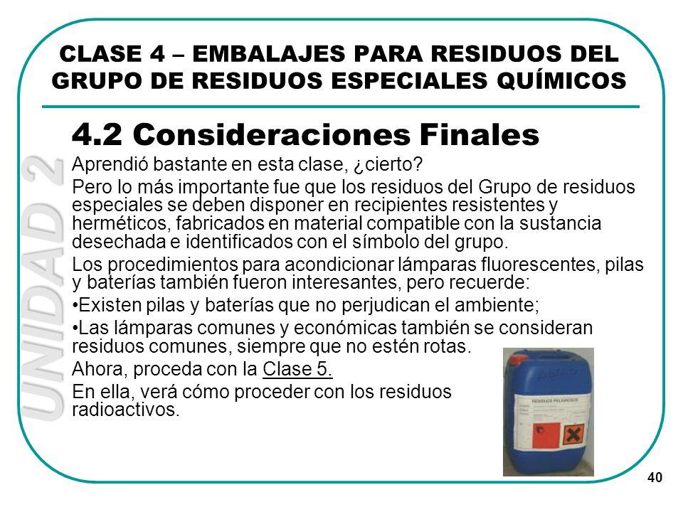 4.2 Consideraciones Finales