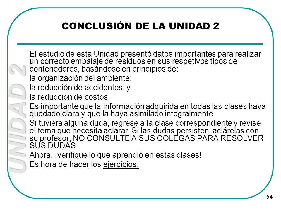 CONCLUSIÓN DE LA UNIDAD 2