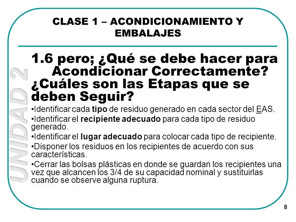 CLASE 1 – ACONDICIONAMIENTO Y EMBALAJES