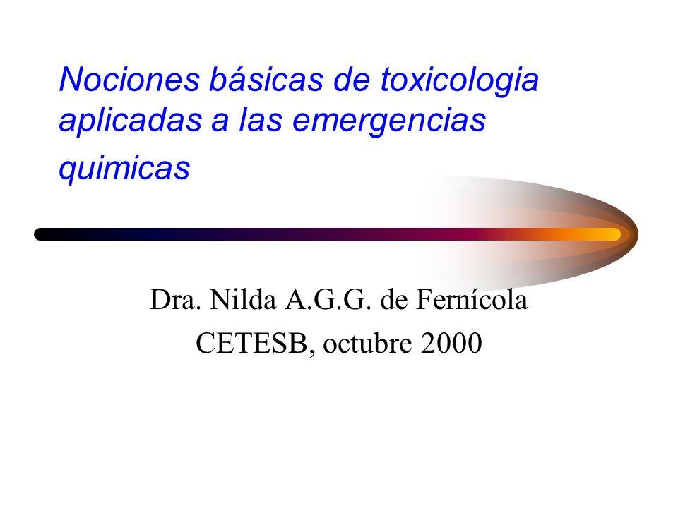 Nociones básicas de toxicologia aplicadas a las emergencias quimicas