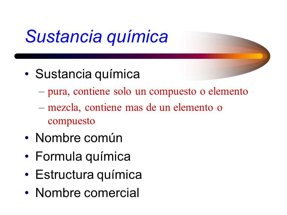 Sustancia química Sustancia química Nombre común Formula química