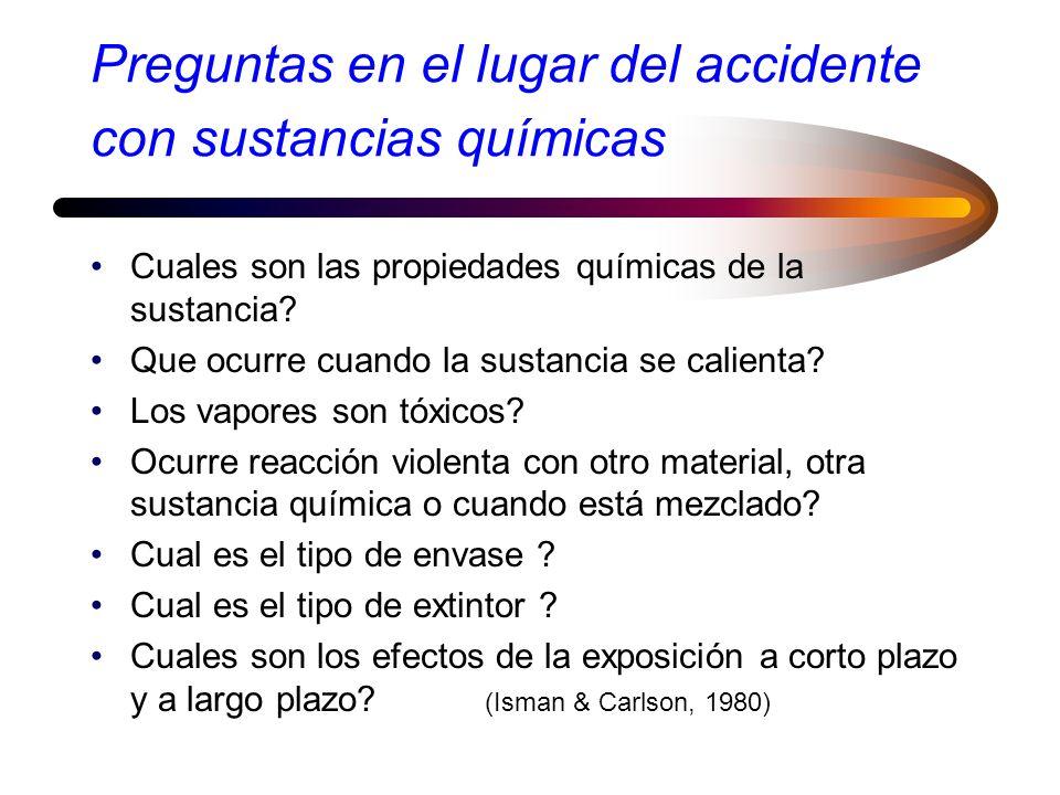 Preguntas en el lugar del accidente con sustancias químicas