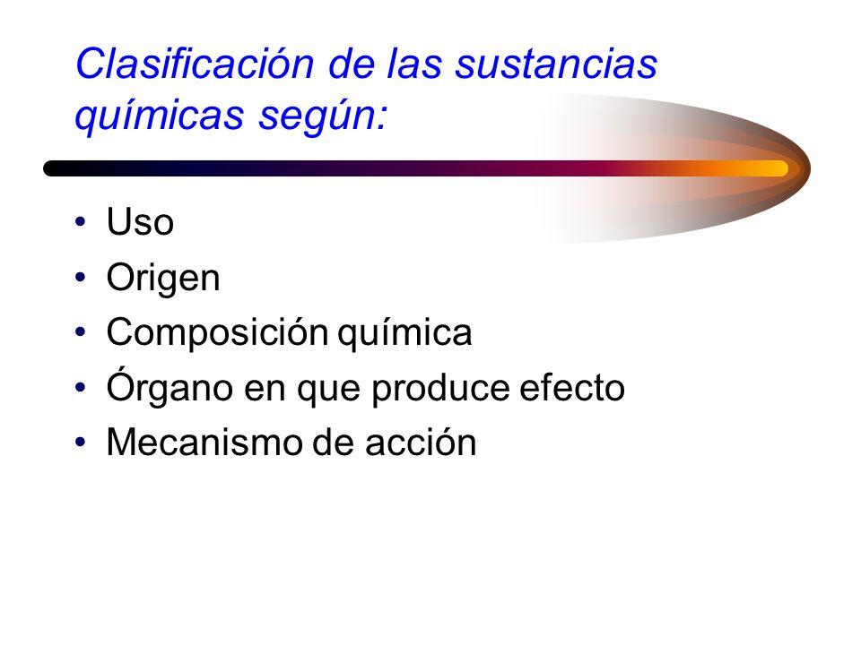 Clasificación de las sustancias químicas según: