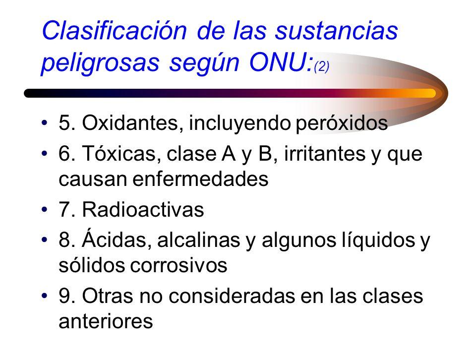 Clasificación de las sustancias peligrosas según ONU:(2)
