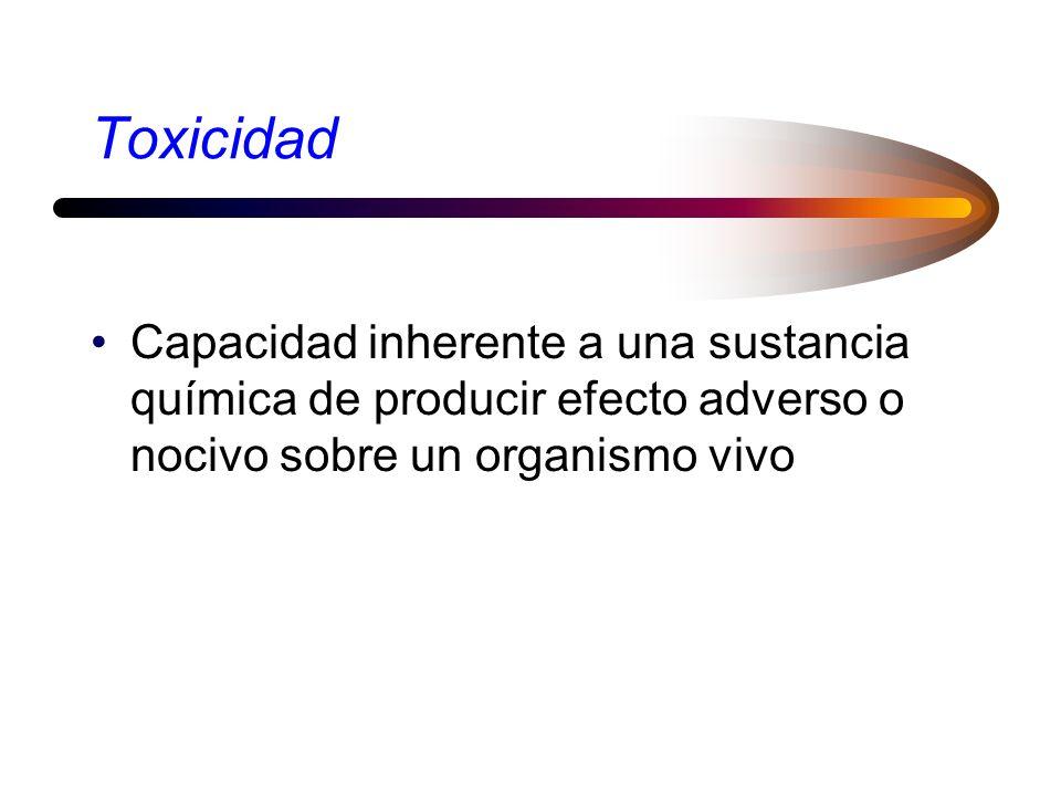 Toxicidad Capacidad inherente a una sustancia química de producir efecto adverso o nocivo sobre un organismo vivo.