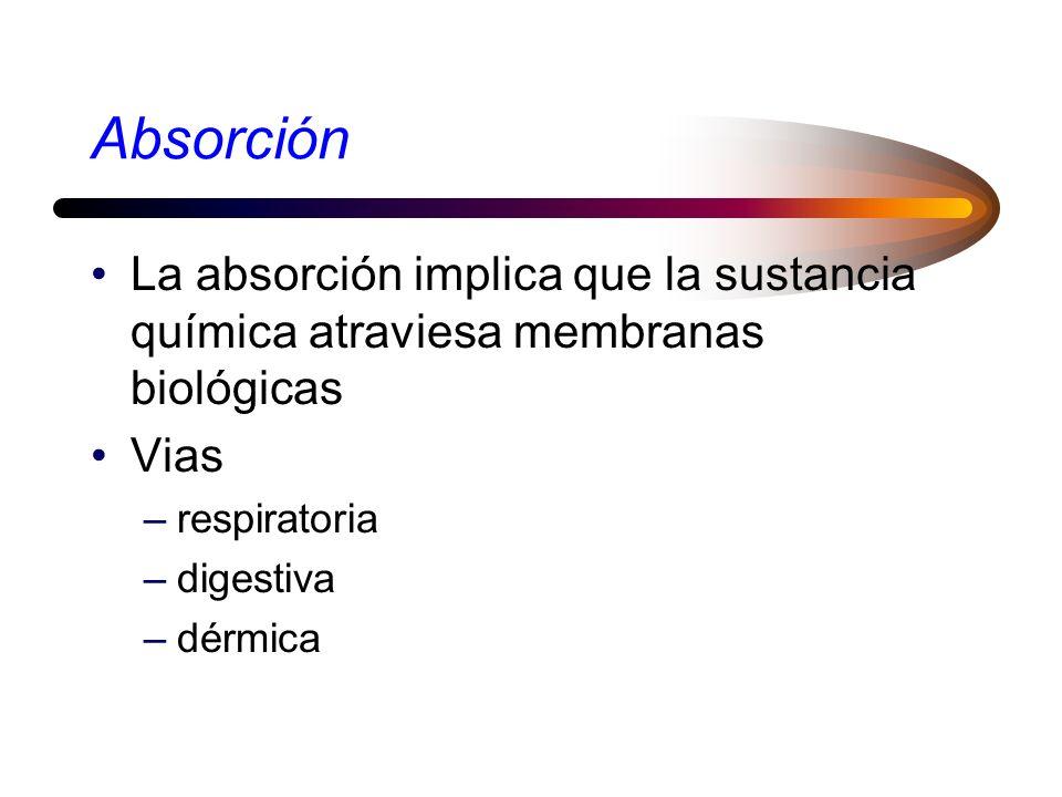 Absorción La absorción implica que la sustancia química atraviesa membranas biológicas. Vias. respiratoria.