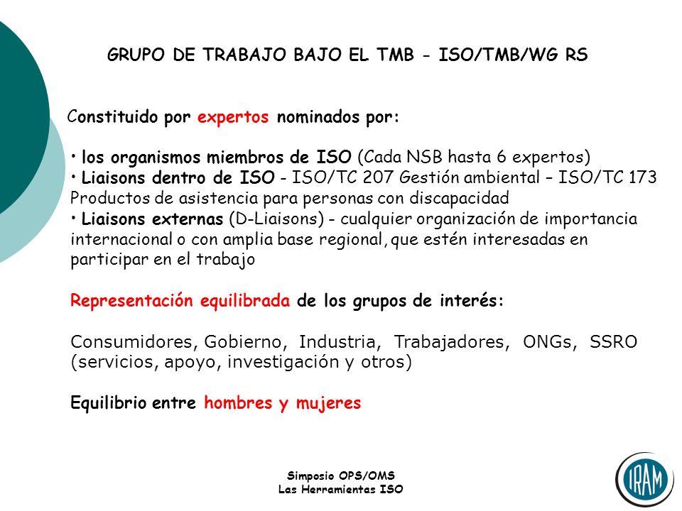 GRUPO DE TRABAJO BAJO EL TMB - ISO/TMB/WG RS