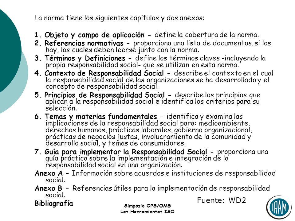 Fuente: WD2 La norma tiene los siguientes capítulos y dos anexos: