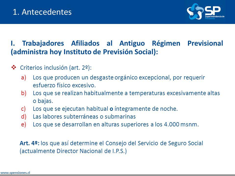 1. Antecedentes I. Trabajadores Afiliados al Antiguo Régimen Previsional (administra hoy Instituto de Previsión Social):