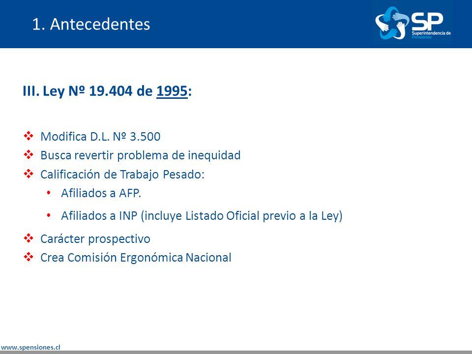 1. Antecedentes III. Ley Nº 19.404 de 1995: Modifica D.L. Nº 3.500