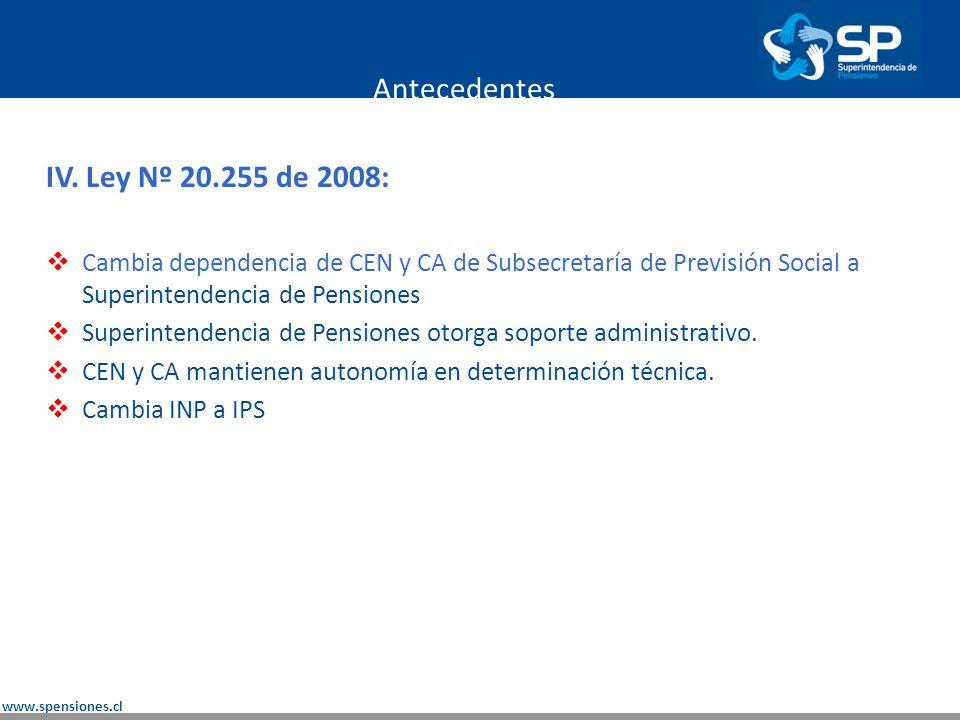 Antecedentes IV. Ley Nº 20.255 de 2008:
